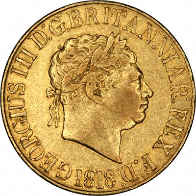 Obverse of 1818 George III Sovereign