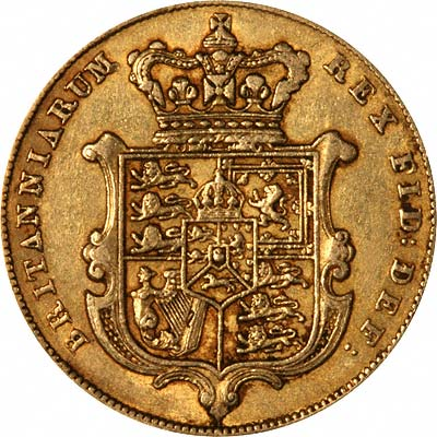 Reverse of 1825 George IV Sovereign Second Issue Bare Head & Shield