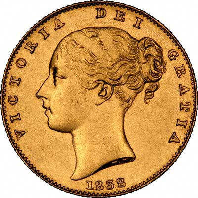 Obverse of 1838 Victoria Young Head Sovereign