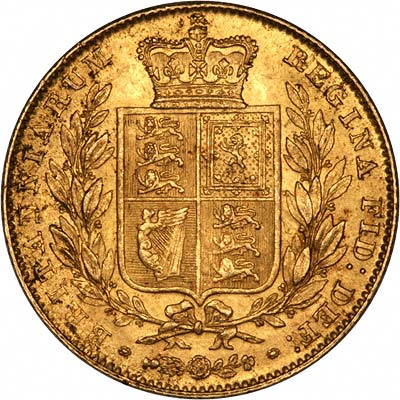 Reverse of 1847 Victoria Shield Sovereign First Reverse