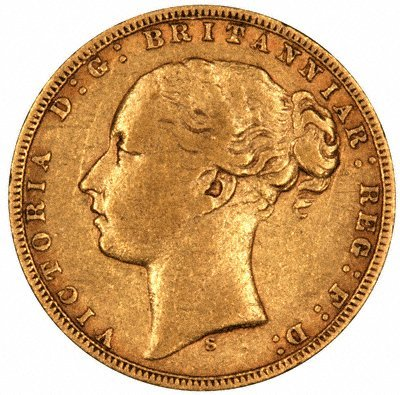 Obverse of 1873 Victoria Young Head St. George Sovereign