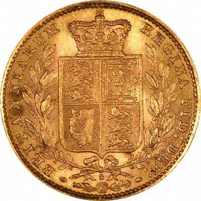 Reverse of 1885 Sydney Mint Shield Sovereign
