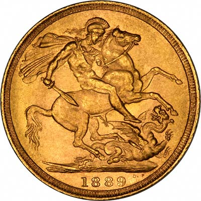 Reverse of 1889 London Mint  Sovereign