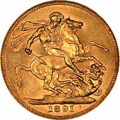 Reverse of 1891 Sovereign - Short Tail Horse