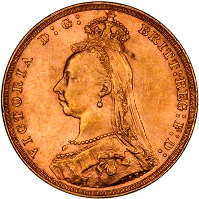 Obverse of 1891 Short Tail Sovereign