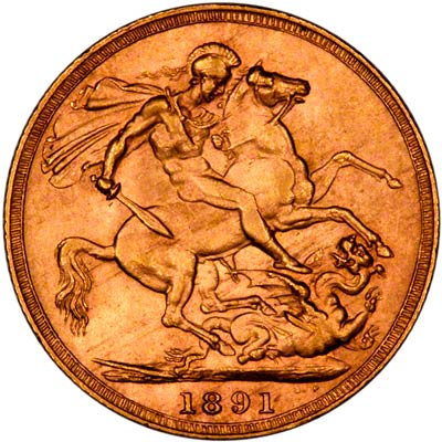Reverse of 1891 Short Tail Type Sovereign