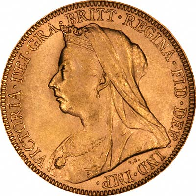 Obverse of 1894 London Mint Gold Sovereign
