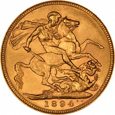 Reverse of 1894 Sydney Mint Gold Sovereign