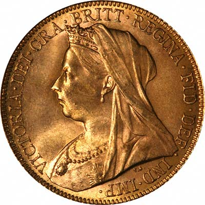 Obverse of Queen Victoria Veiled Head Gold Sovereign