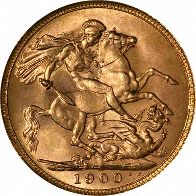 Reverse of 1900 Queen Victoria Veiled Head Gold Sovereign