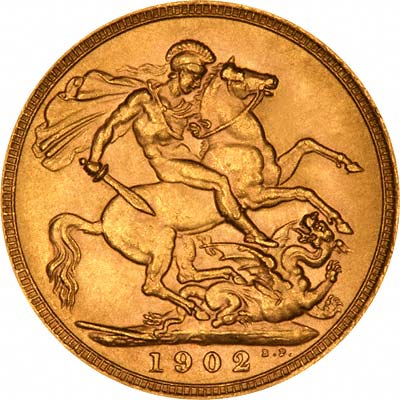Reverse of 1902 London Mint Sovereign