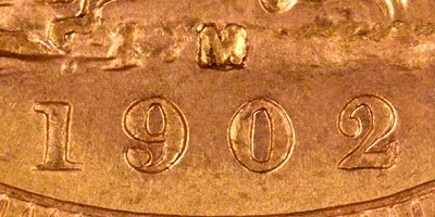 1902 Melbourne Mint Sovereign - Close Up of Date