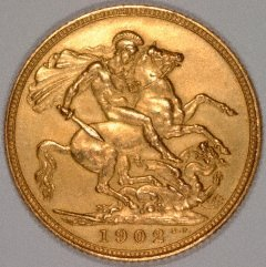 Reverse of 1902 London Mint Sovereign - Matt Proof