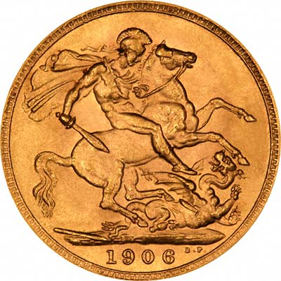 Reverse of 1906 London Mint  Sovereign