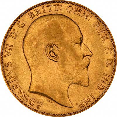 Obverse of Edward VII Sovereign 1902 - 1910