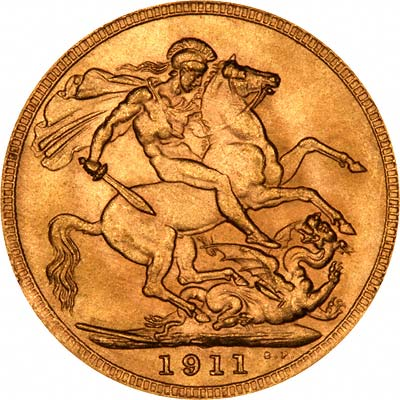 Reverse of 1911 Sovereign - Royal Mint London