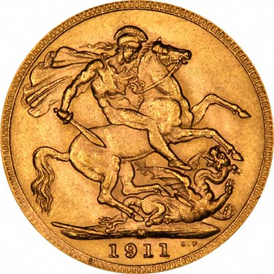 Reverse of 1911 Sovereign - Melbourne Mint Australia