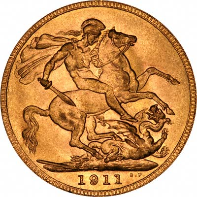 Reverse of 1911 Sovereign - Perth Mint Australia