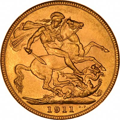 Reverse of 1911 Sovereign - Sydney Mint Australia