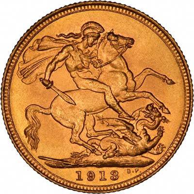 Reverse of 1913 Sydney Mint Sovereign