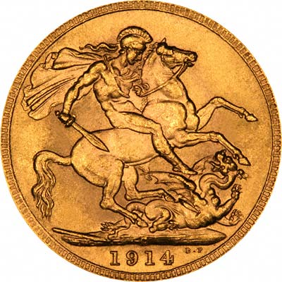 Reverse of 1914 Canada Mint Sovereign