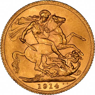 Reverse of 1914 London Mint Sovereign