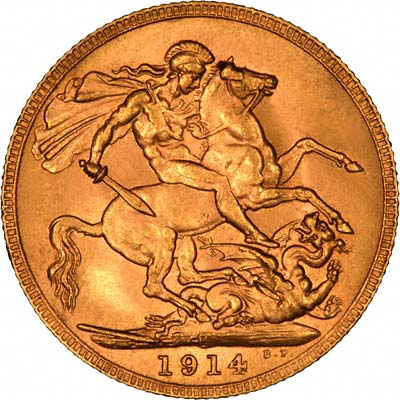 Reverse of 1914 Perth Mint Sovereign