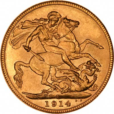 Reverse of 1914 Sydney Mint Sovereign