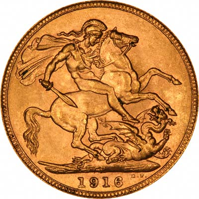 Reverse of 1916 Perth Mint Sovereign