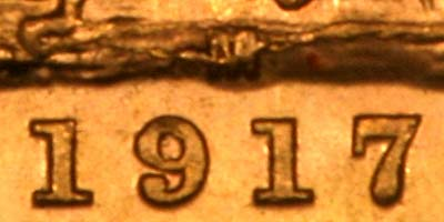 Close Up of Date & Mintmark of 1917 Melbourne Mint Sovereign