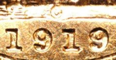 1919 Canada Mint Sovereign Close Up of Date & Mintmark