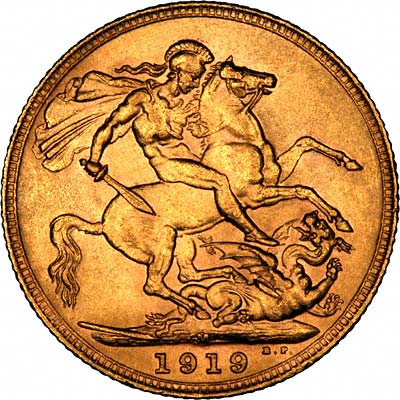Reverse of 1919 Melbourne Mint Sovereign
