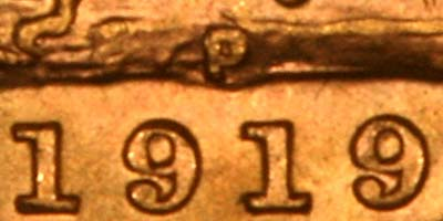 Reverse of 1919 Perth Mint Sovereign Close Up of Date & Mintmark