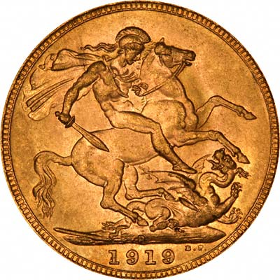 Reverse of 1919 Perth Mint Sovereign