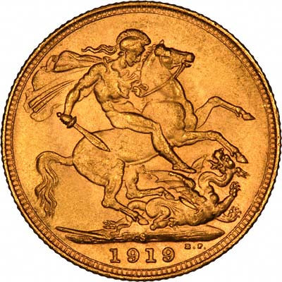 Reverse of 1919 Sydney Mint Sovereign