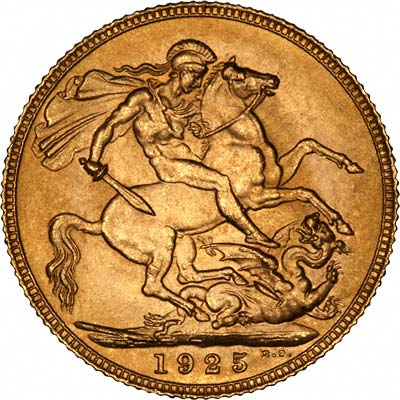 Reverse of 1925 London Mint Sovereign - Almost Certainly an Official Restrike