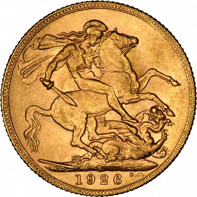 Reverse of 1926 S = Sydney Mint Sovereign