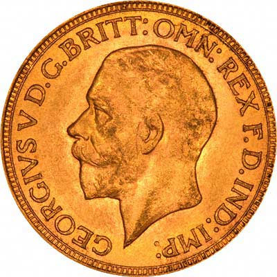 Small Head Portrait on Obverse of Late George V Sovereigns