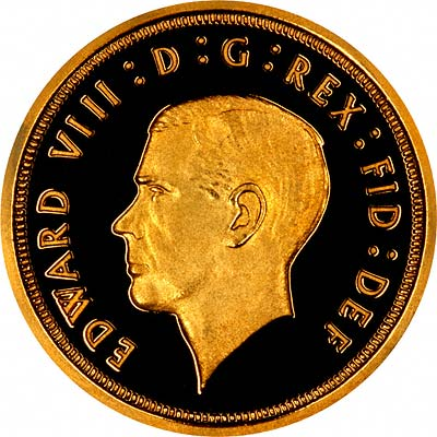 Obverse of 1936 Edward VIII Unofficial Pattern Sovereign