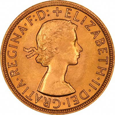 Obverse of 1957 Sovereign