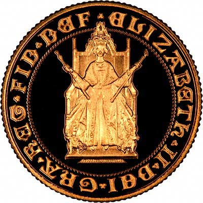 Monarch Enthroned Portrait on Obverse of 1989 Proof Sovereign