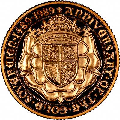 Tudor Rose on Reverse of 1989 Proof Sovereign