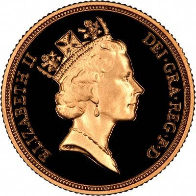 Third (Maklouf) Portrait on Obverse of 1990 Proof Sovereign