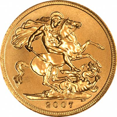 Reverse of 2007 Uncirculated Sovereign - Simulated Coin