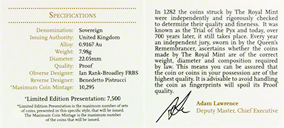 Reverse of 2013 Gold Proof Sovereign Certificate