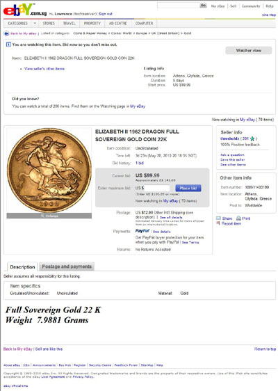 thresholdz 1962 Gold Sovereign eBay Auction Listing