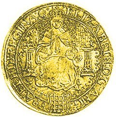 Obverse of Elizabeth I Hammered Gold Sovereign