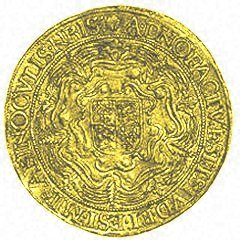 Reverse of Elizabeth I Hammered Gold Sovereign