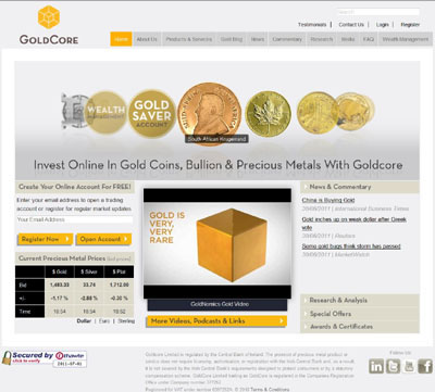 GoldCore Limited trading as GoldCore Screenshot Using our Krugerrand Photograph